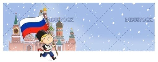 Boy with russian flag in the red square