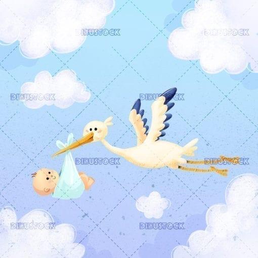 Ciguena volando con bebe por el cielo20