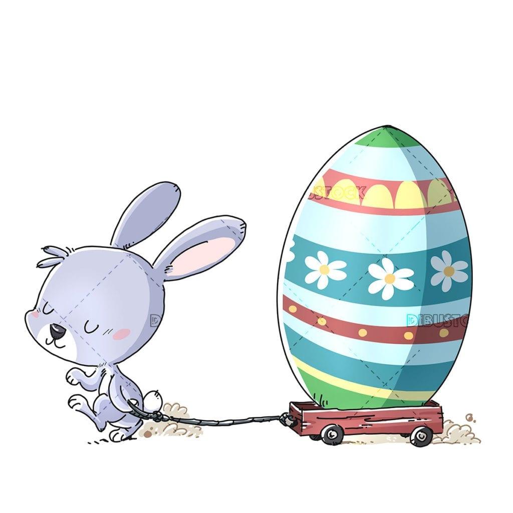 Conejo de pascua con huevo y carrito20