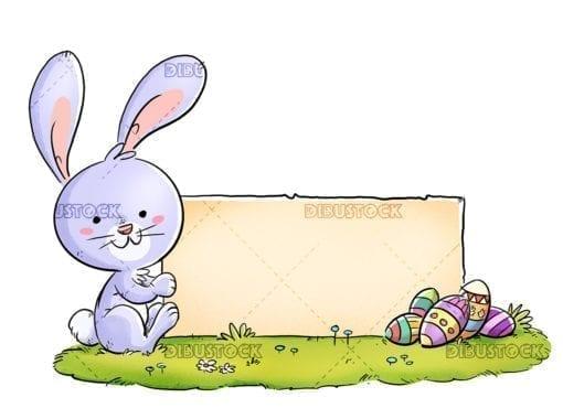 Conejo pascua con cartel