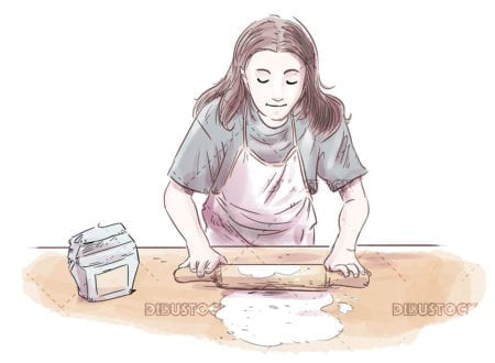 Cook girl kneading rolling pin