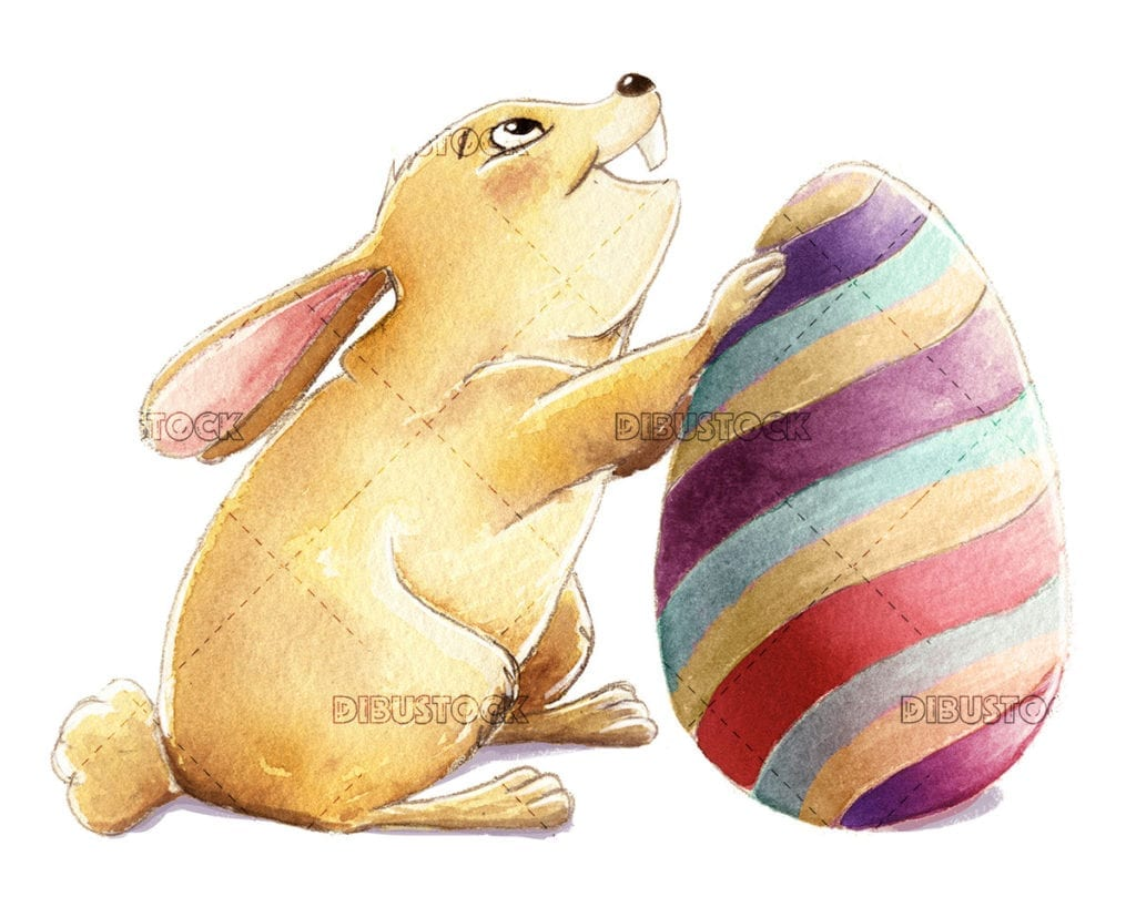 Easter bunny with colorful egg 1