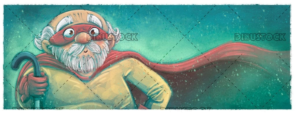 Elderly grandfather in superhero costume