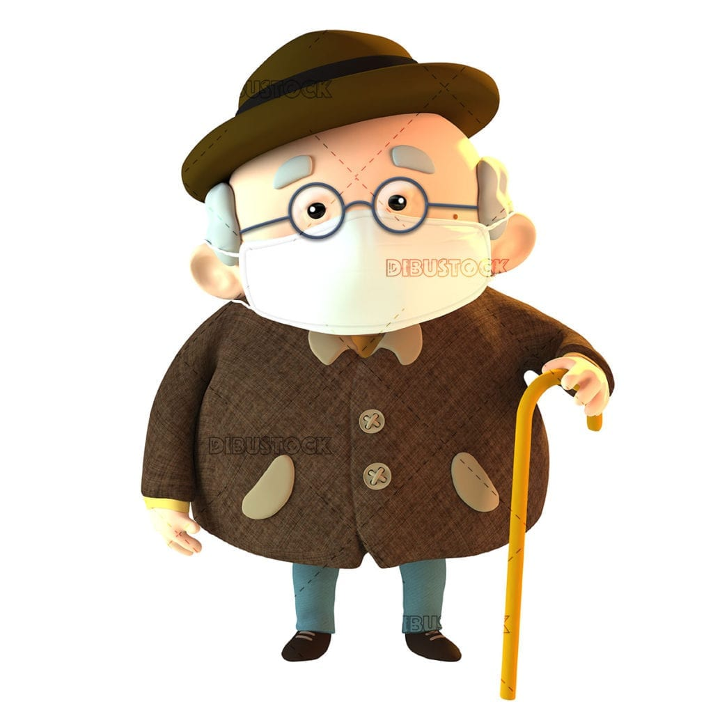 Elderly person with a mask to avoid contagion. 3d illustration