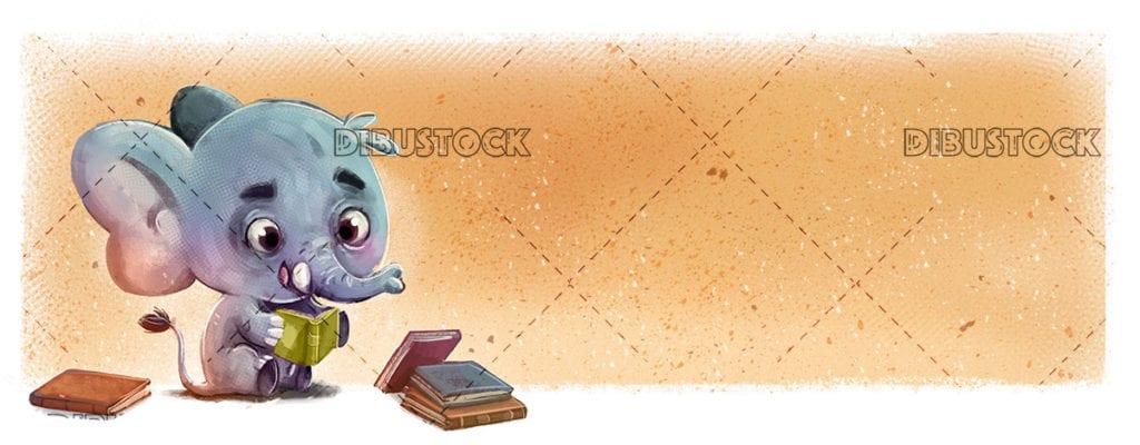 Elefante leyendo libros feliz20