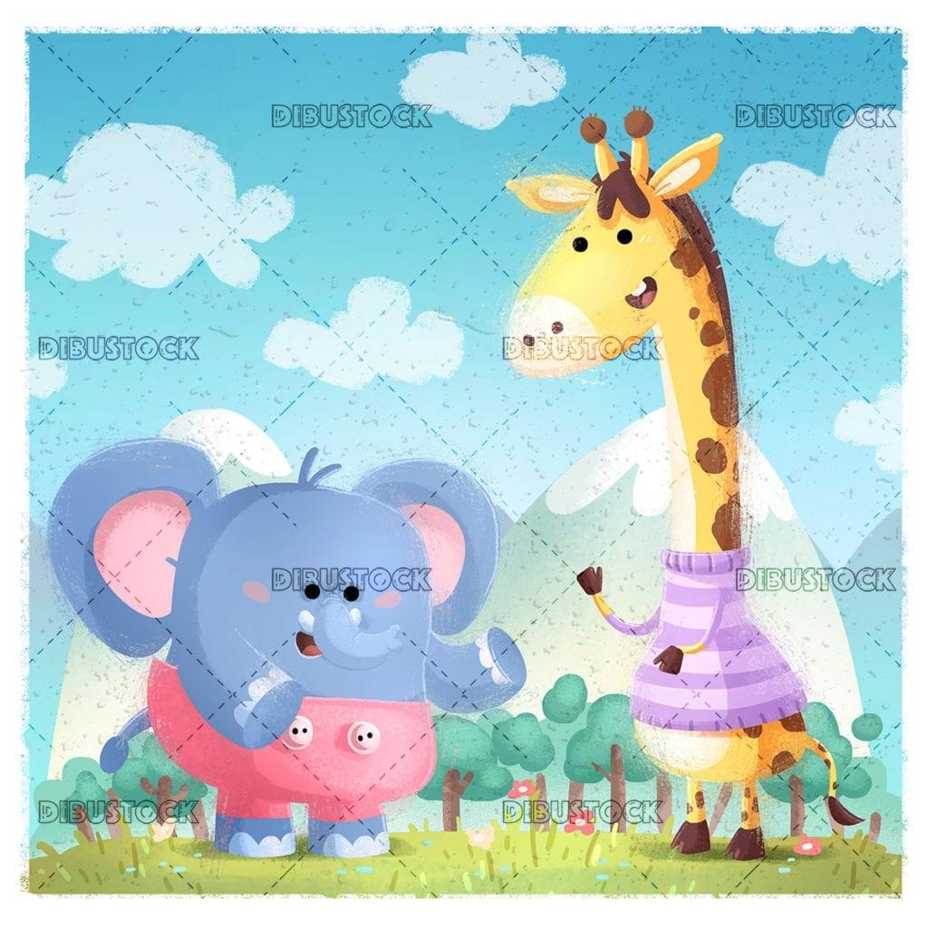 Elefante y jirafa en la naturaleza