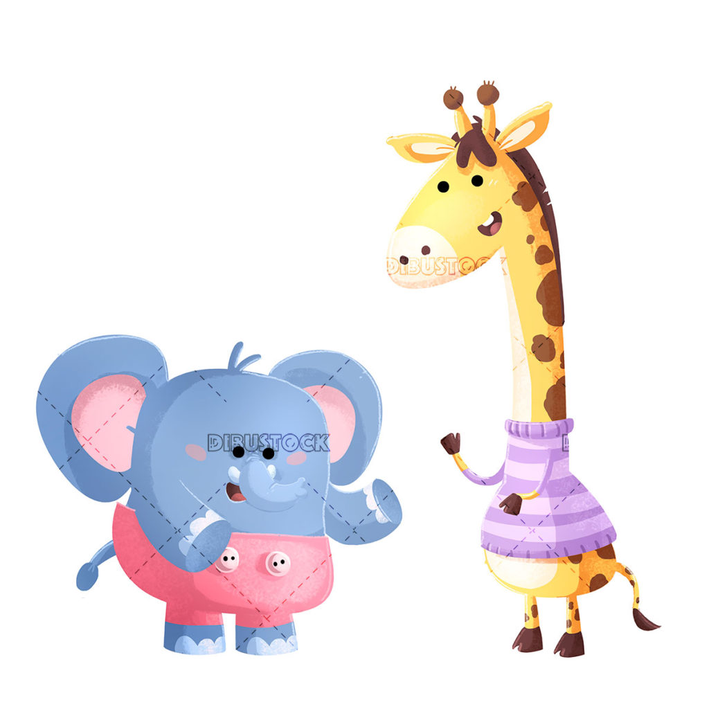 Elephant and giraffe on isolated background