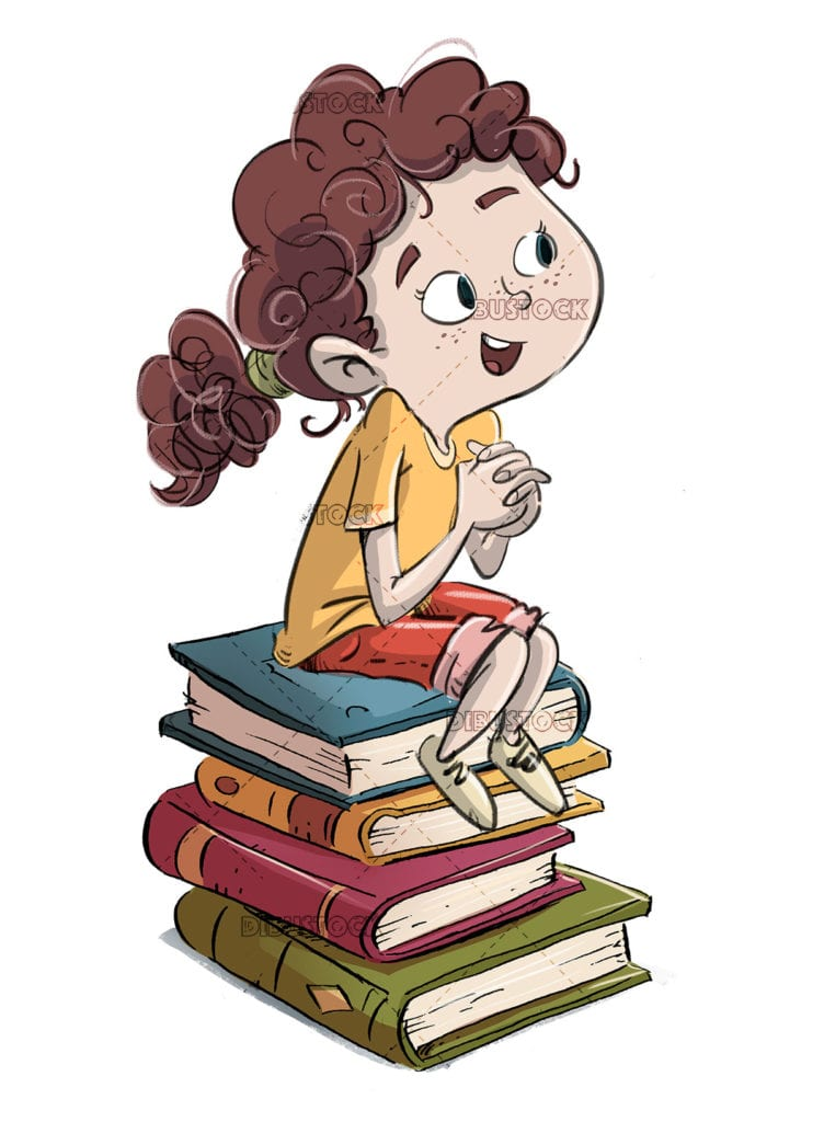 Excited girl sitting on top of books