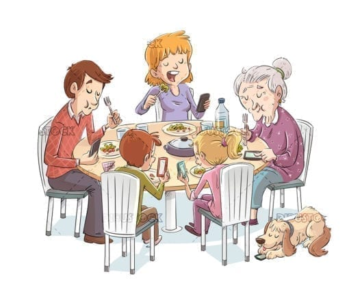 Family eating while everyone looks at the phone