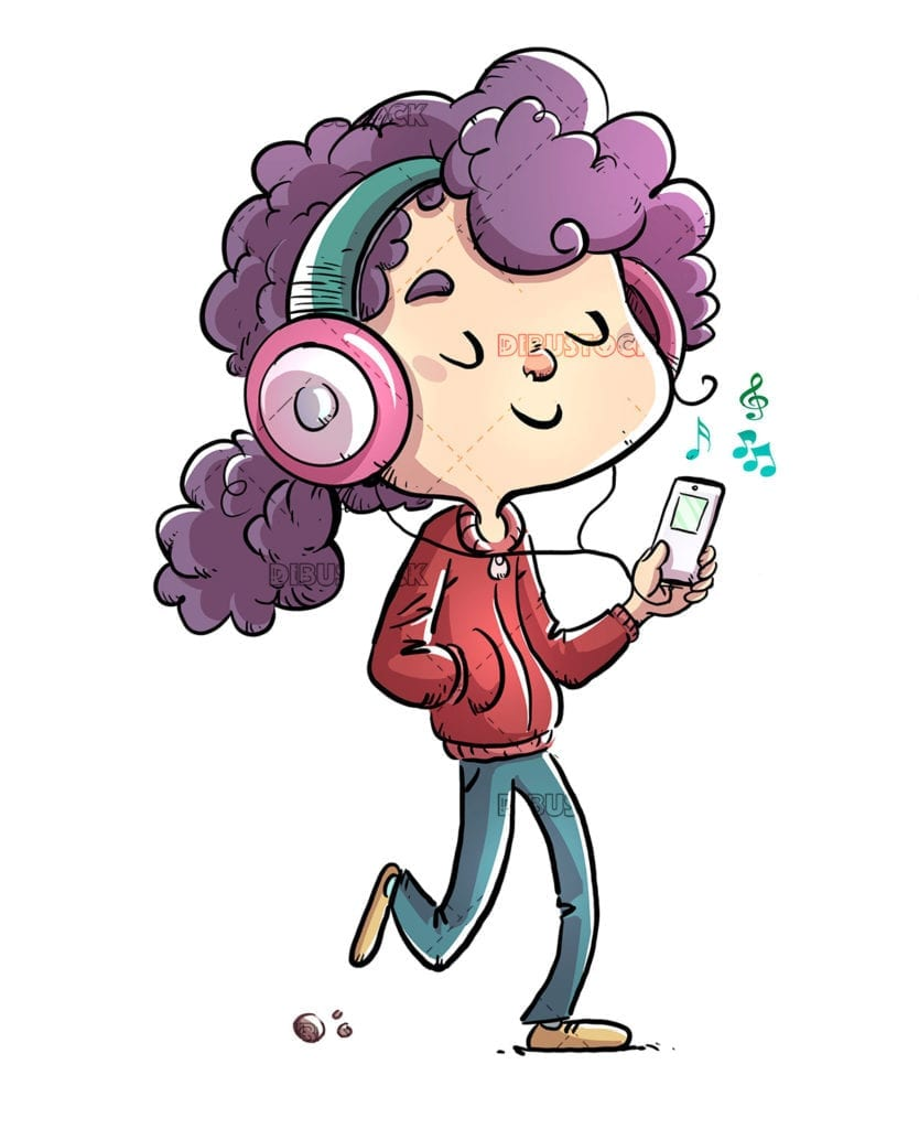 Girl listening to music while walking