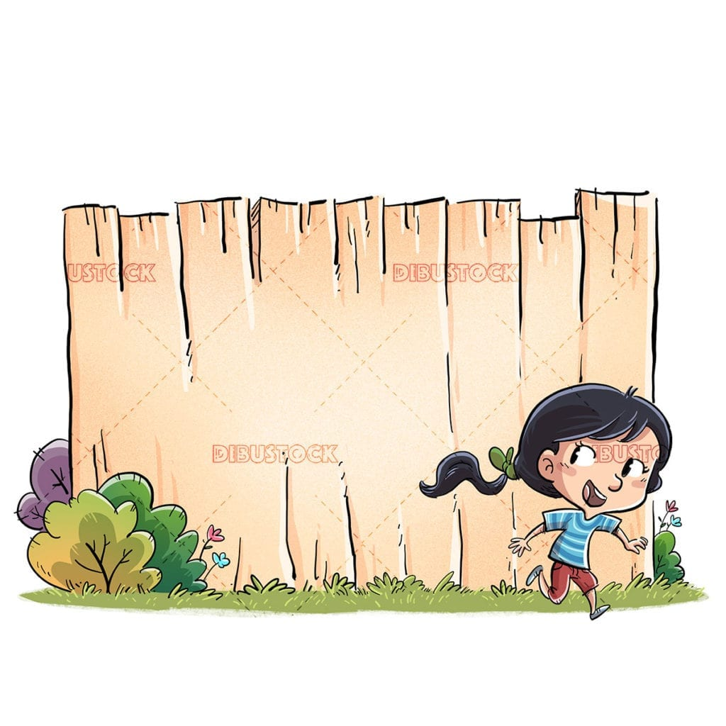 Girl running with wooden fence