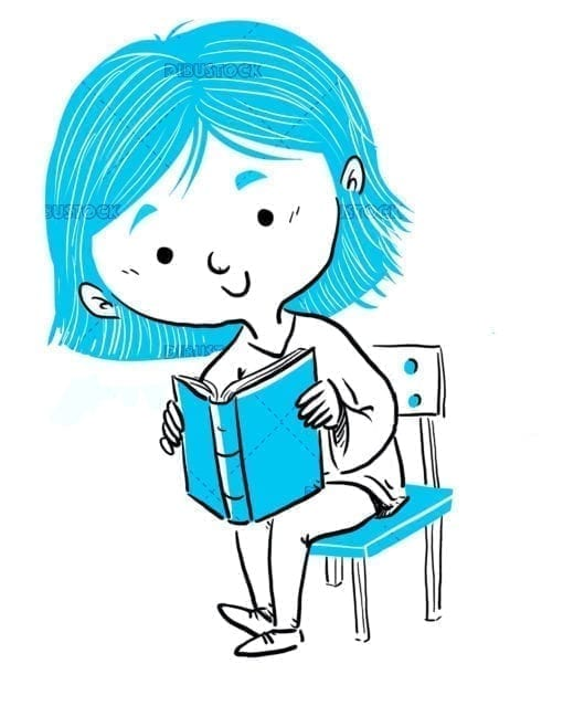 Girl sitting reading a book blue line
