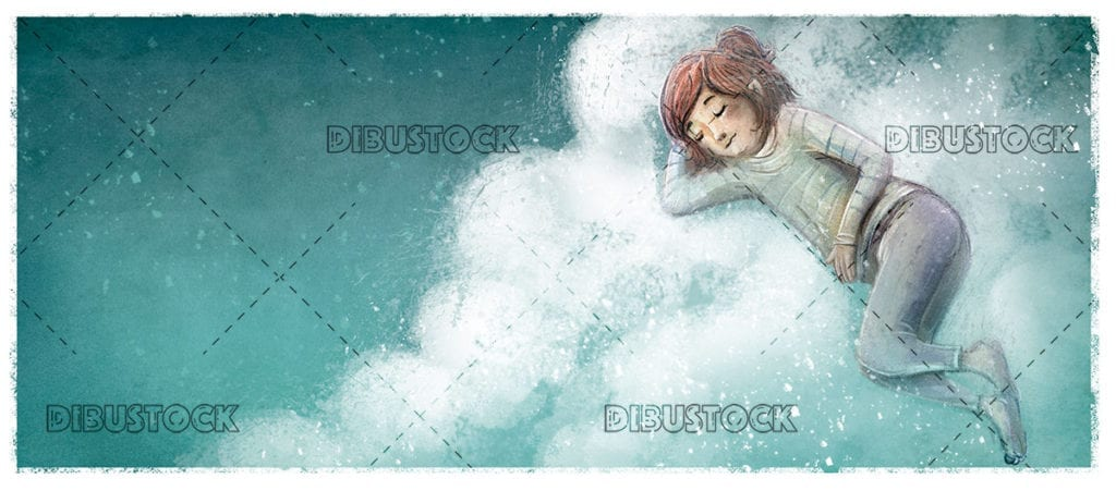 Girl sleeping on the clouds