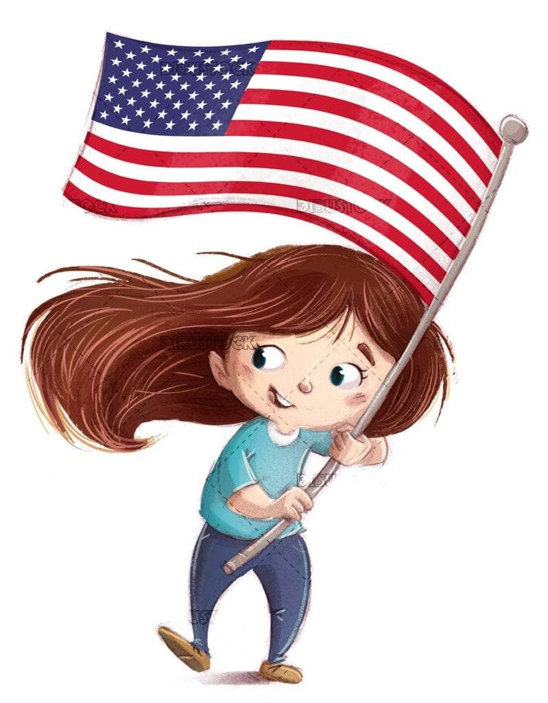 Girl with flag of the united states of america