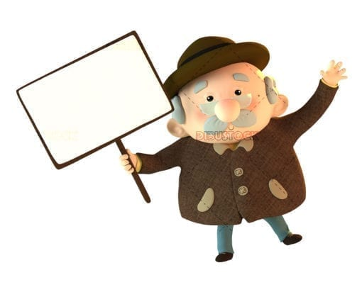 Grandfather with a sign in his hand indicating something. 3d illustration