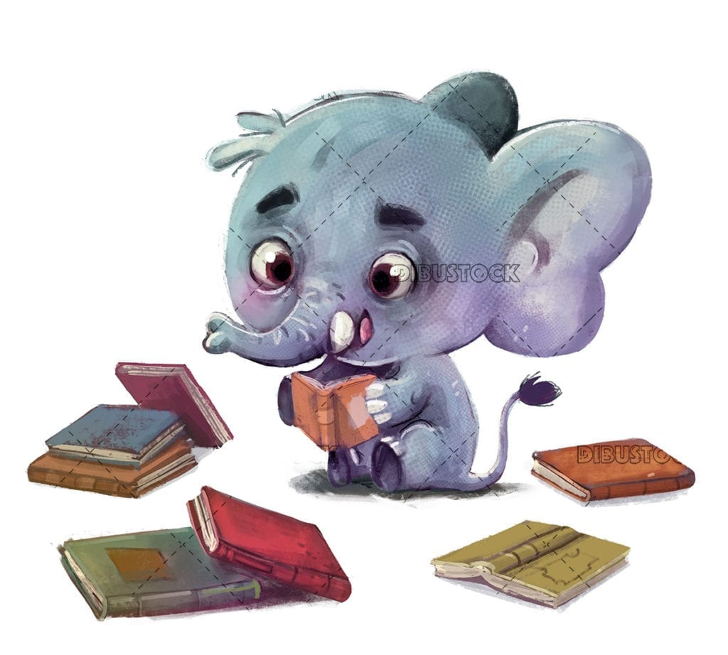 Happy elephant sitting reading books