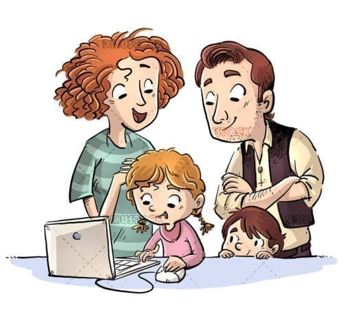 Happy family using a computer