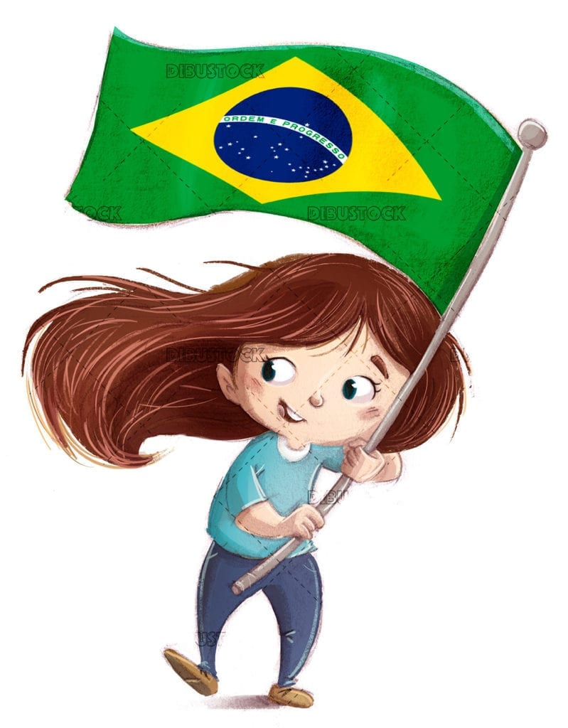 Happy kid with brazil flag