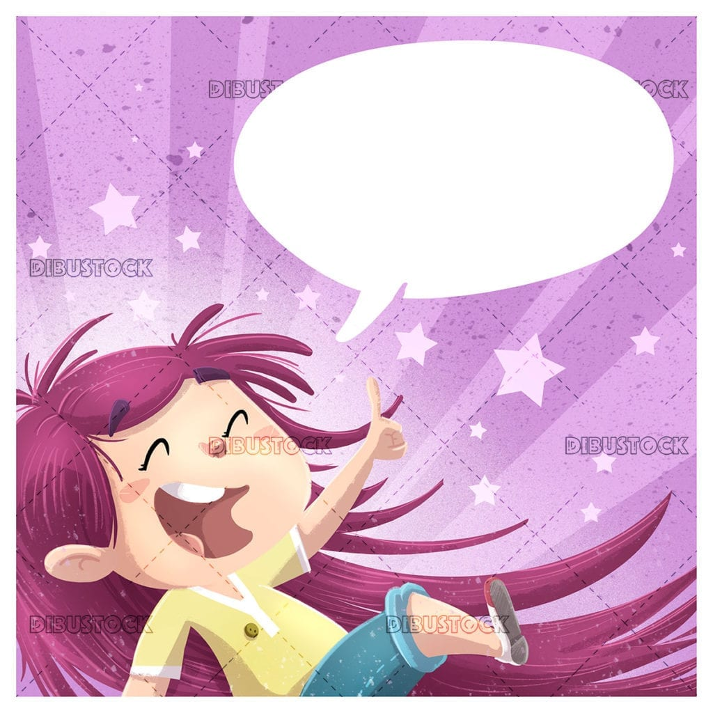 Happy little girl with speech bubble