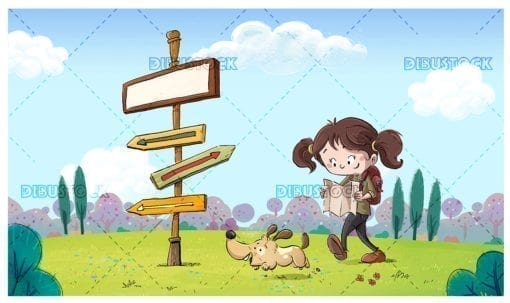 Hiker girl with dog looking at signs