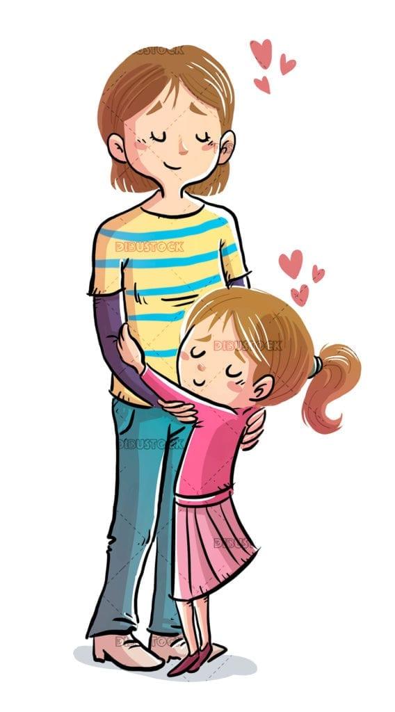 Hug between mother and daughter