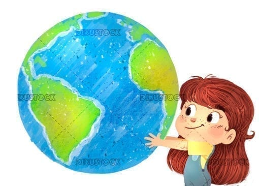 Kid playing with planet earth