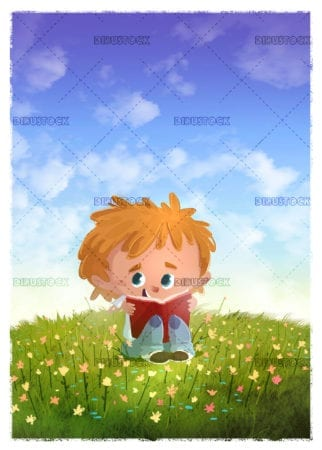 Kid reading a book in a meadow with flowers