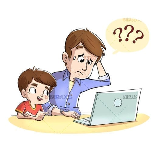 Kid teaching his father to use the computer