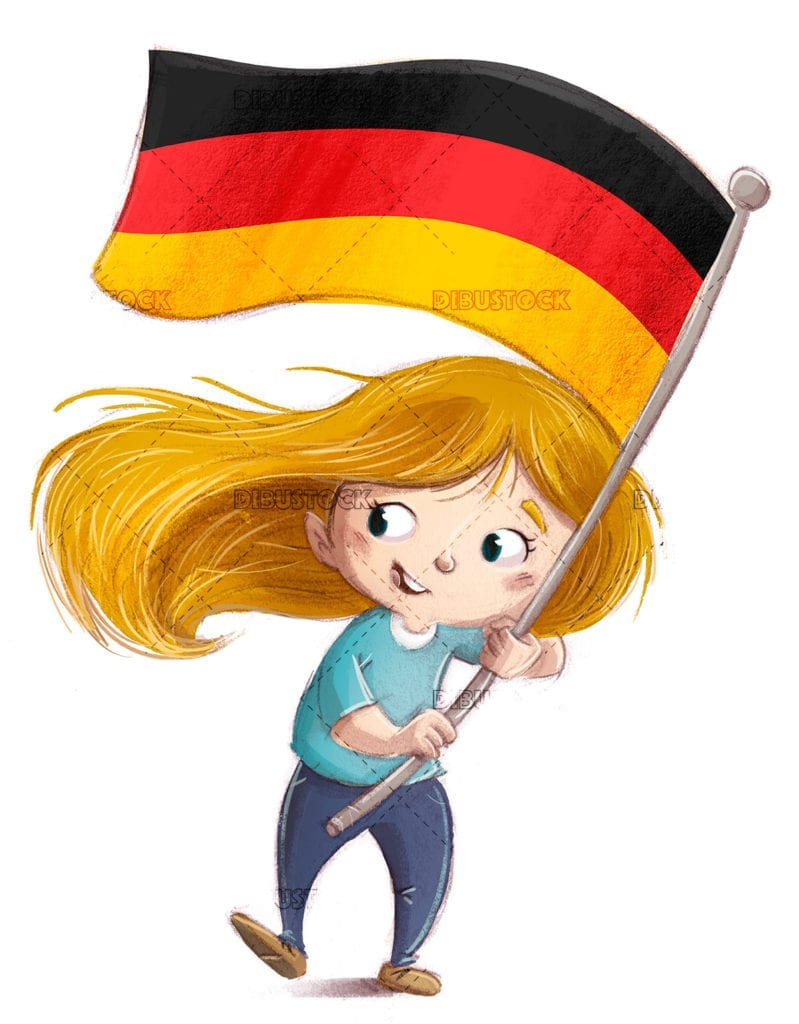 Kid waving a flag of germany