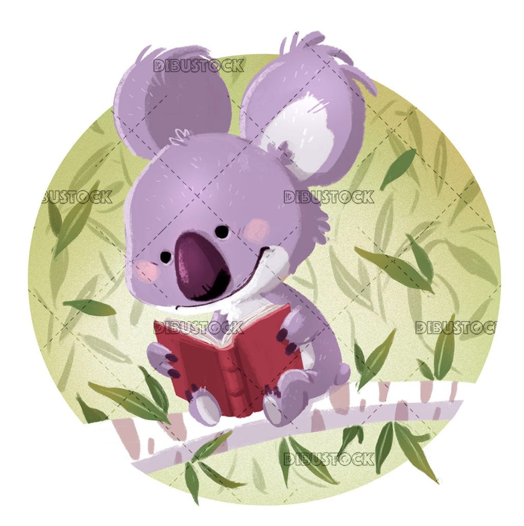 Koala reading a book sitting