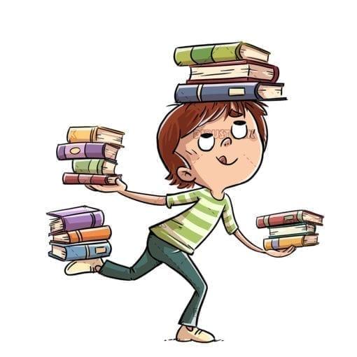 Little boy juggling many books