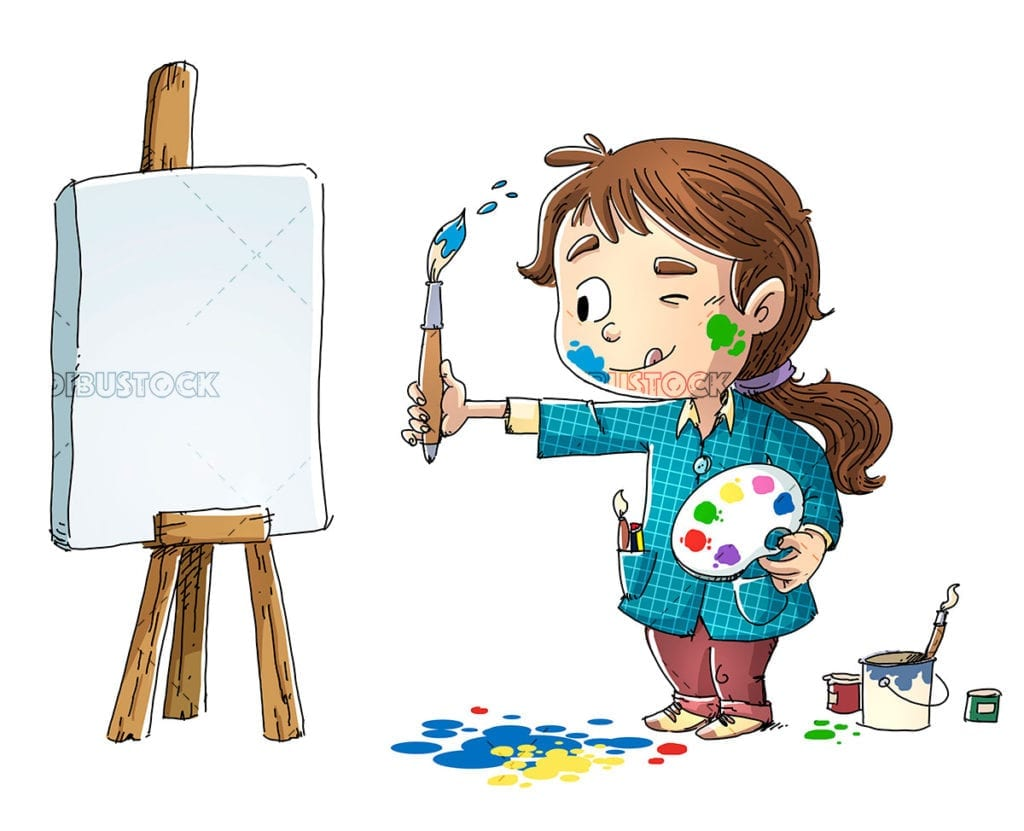 Little girl painting a picture on isolated background