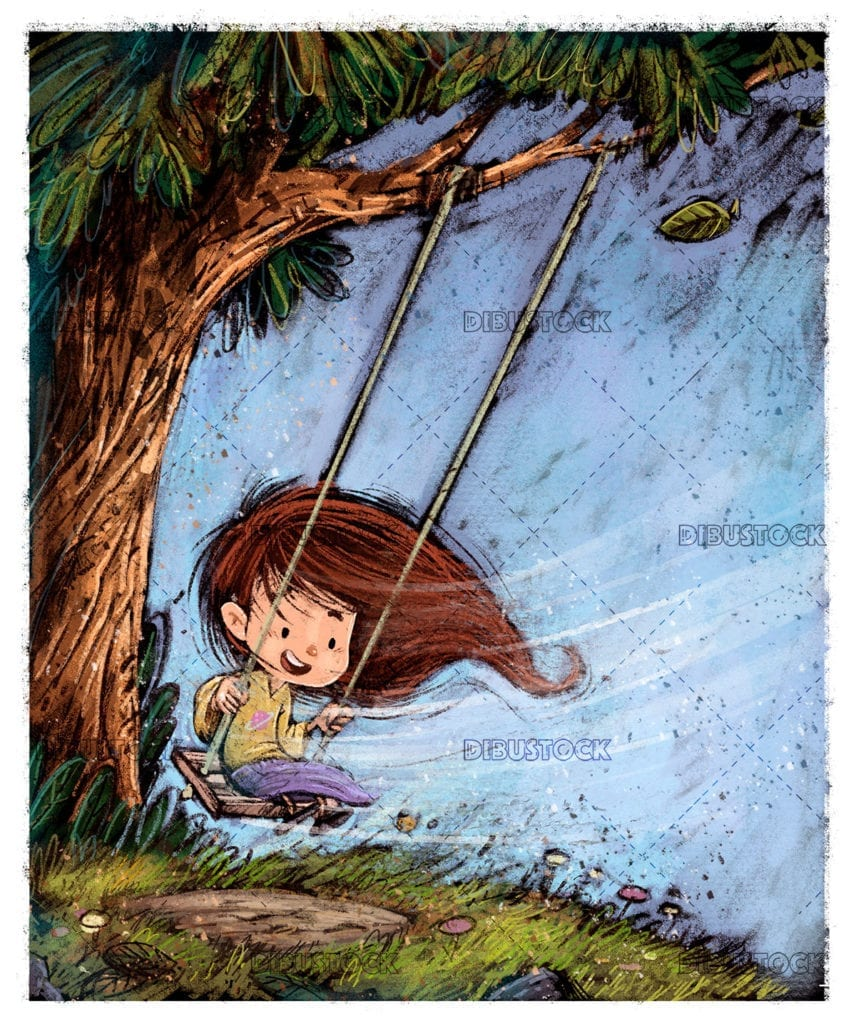 Little girl playing on a swing