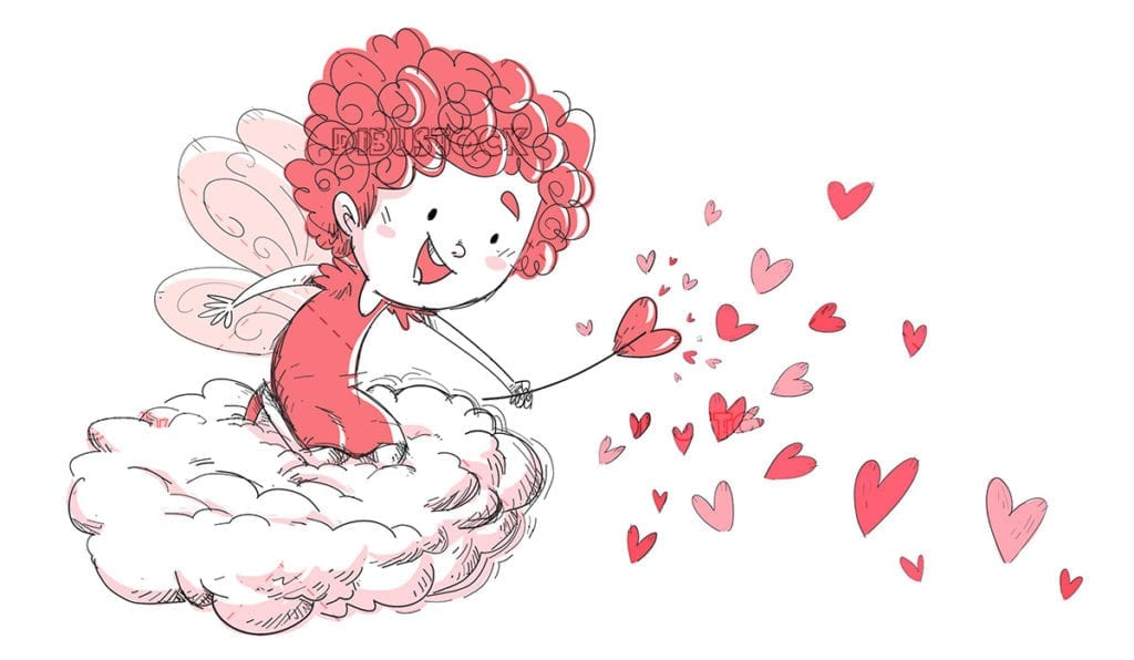 Love fairy on a cloud