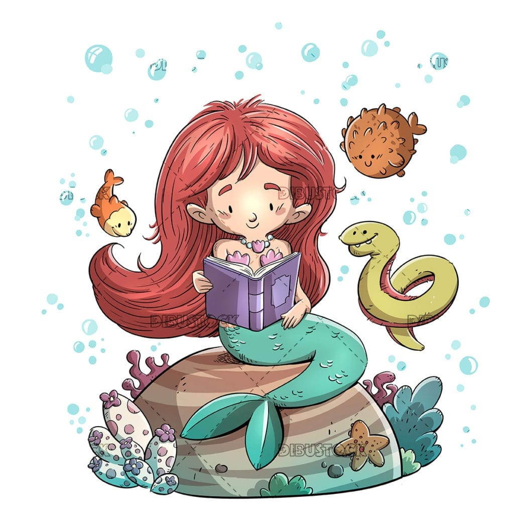 Mermaid reading a book surrounded by fish