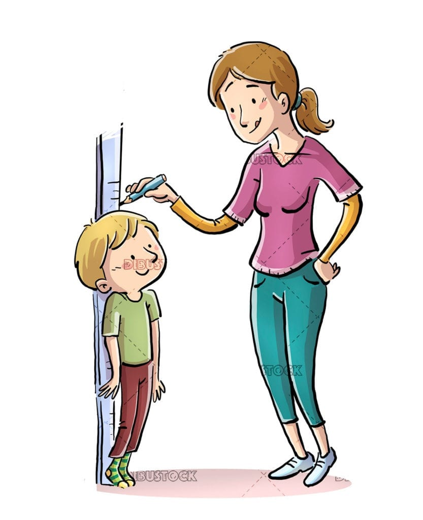 Mother measuring the height of her son