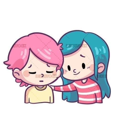 Ninos mostrando amistad