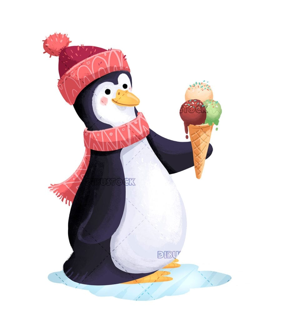 Penguin with scarf and ice cream