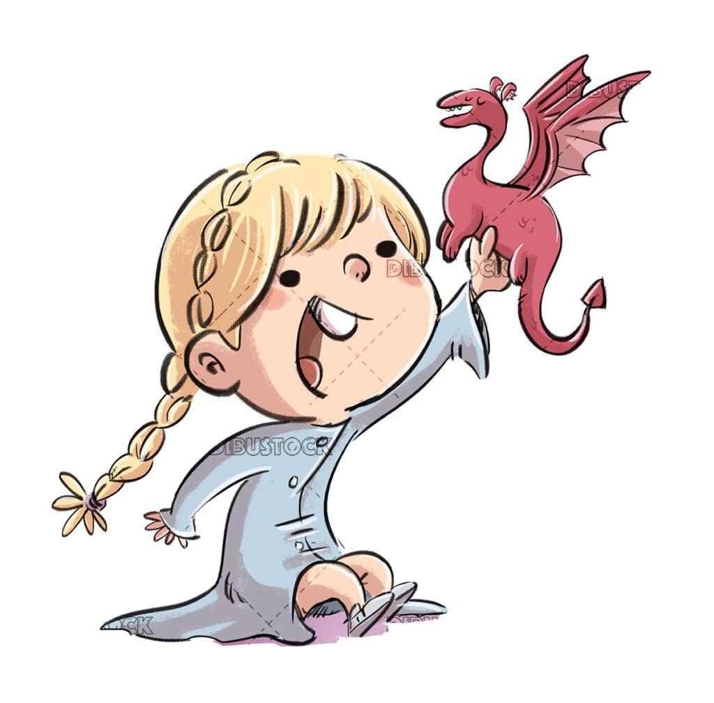 Princess girl playing with toy dragon