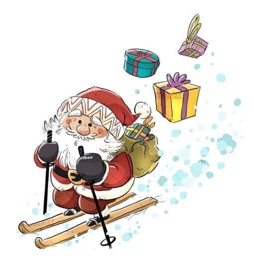 Santa Claus carrying gifts skiing