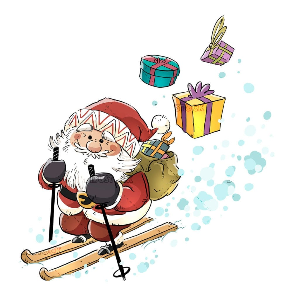 Santa Claus carrying gifts skiing