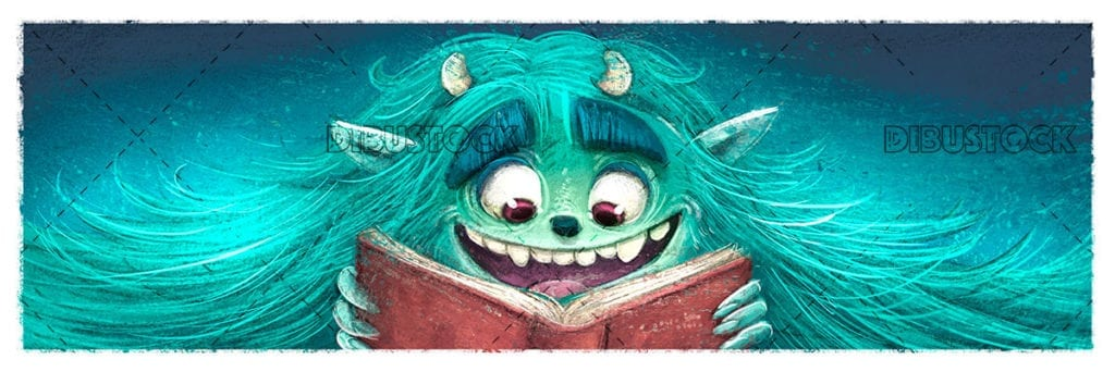 Turquoise monster reading a book