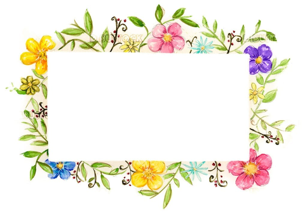 Watercolor flower frame