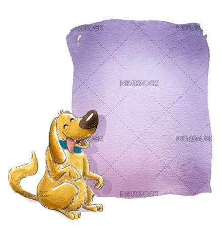 brown dog with lilac sign
