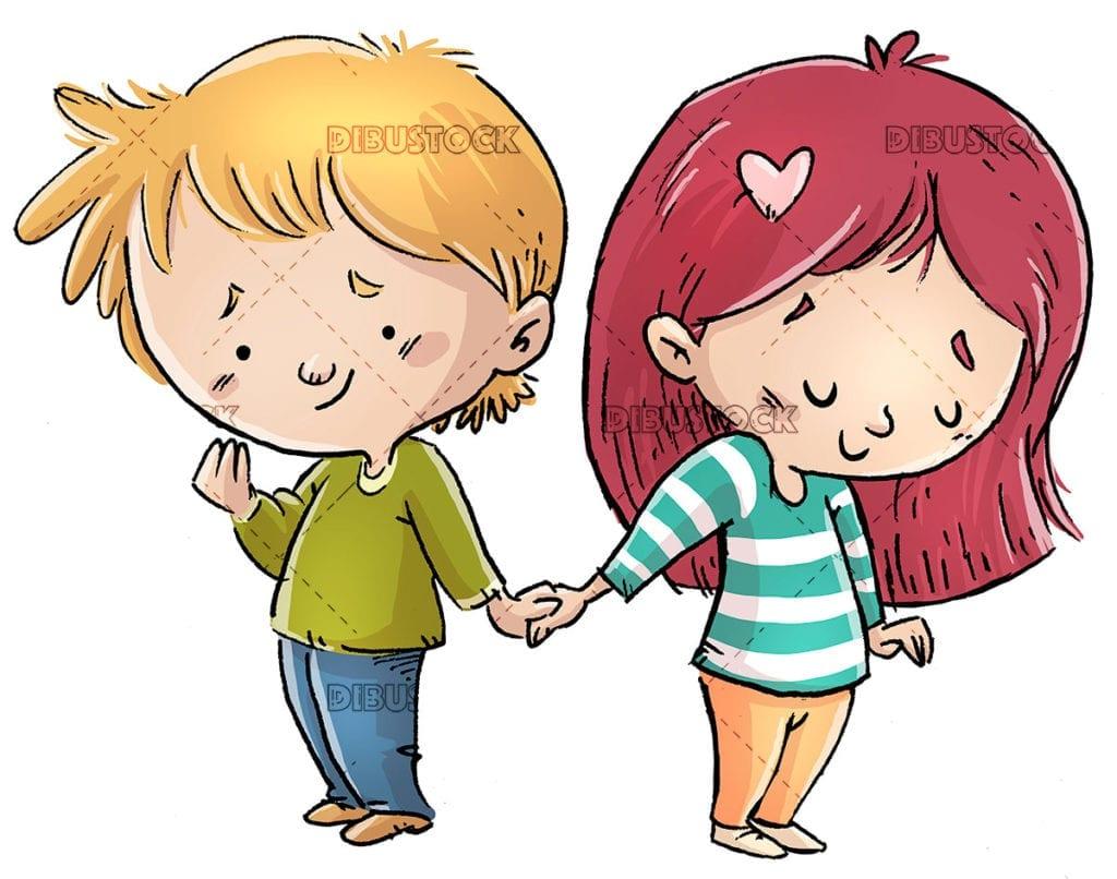 children in love holding hands