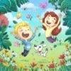 Children jumping in spring