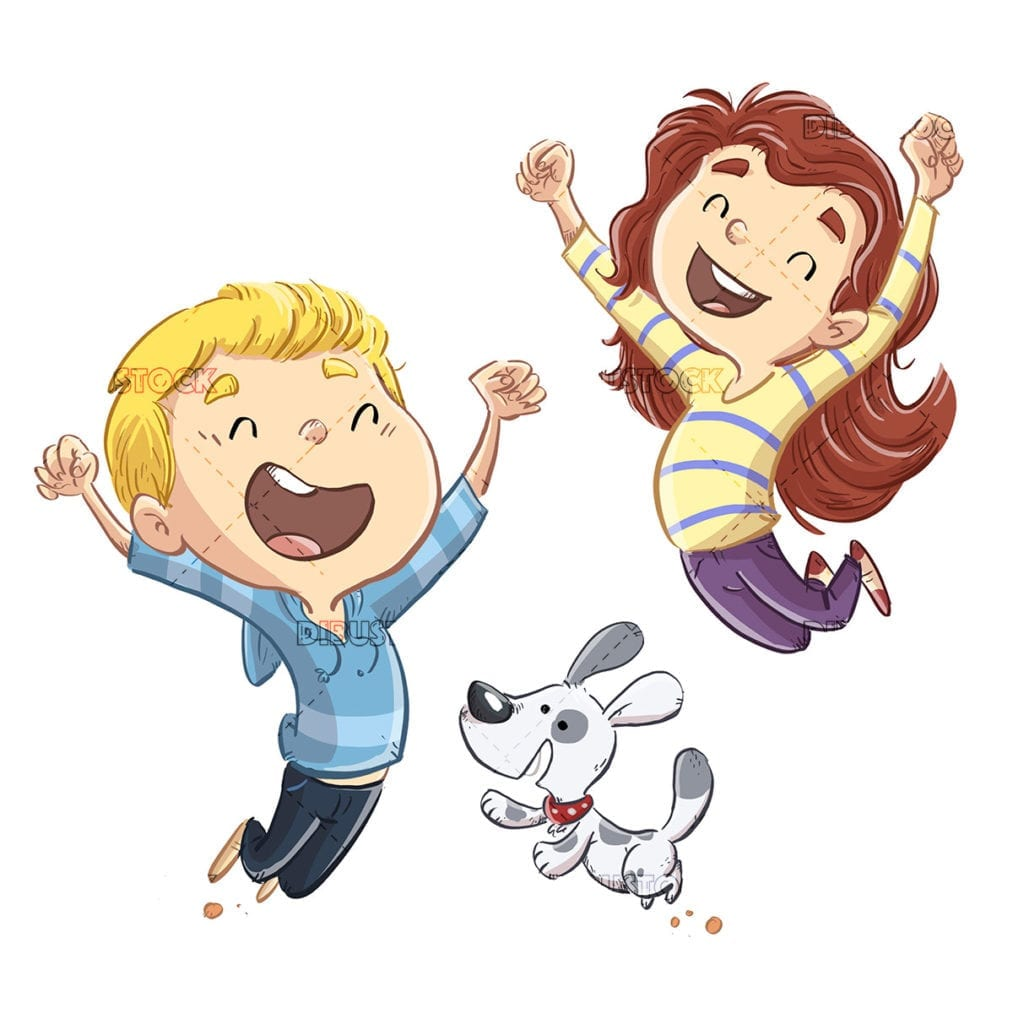 Children jumping with happy dog isolated