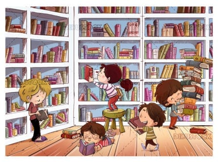 Children picking up books in the library