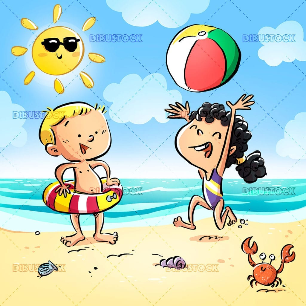 Children playing happy on the beach
