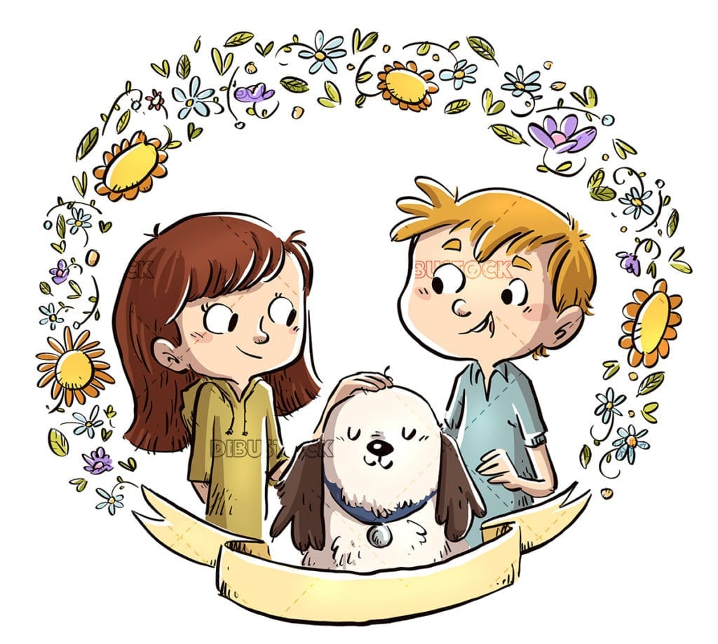 Children with dog on poster